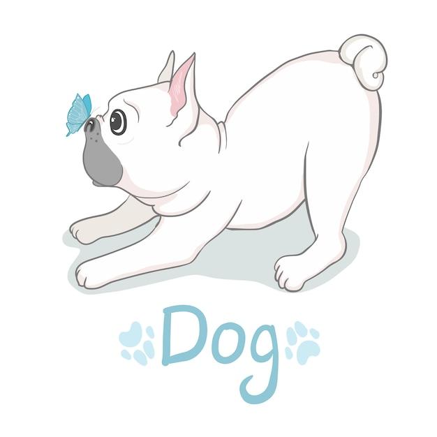 Tête de bulldog français isolée. illustration vectorielle Vecteur Premium