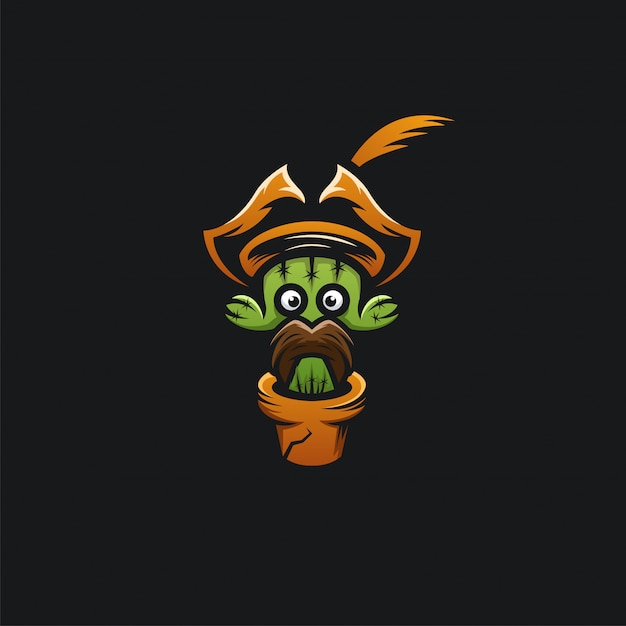 Tête De Cactus Pirates Logo Ilustration Vecteur Premium