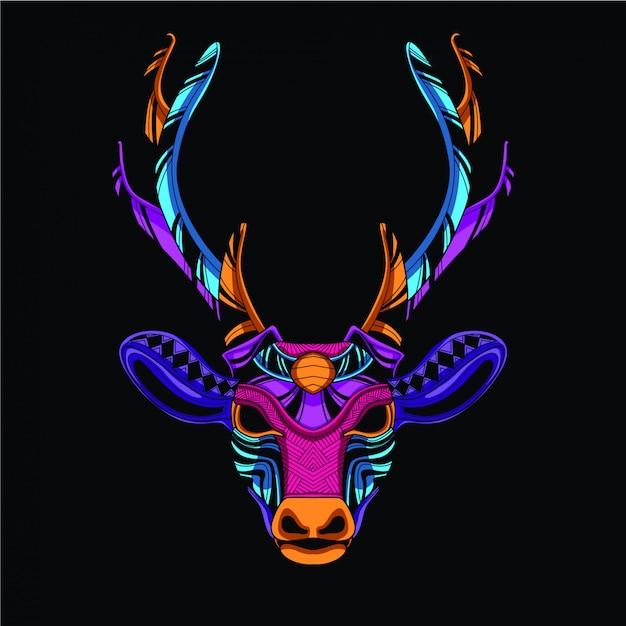 Tête de cerf décorative de couleur néon Vecteur Premium