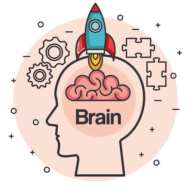 Tête avec cerveau de fusée pense idée illustration vectorielle de concept Vecteur Premium