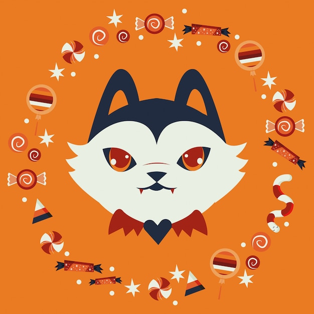 Tête de chat d'halloween déguisée en personnage de citrouille Vecteur gratuit