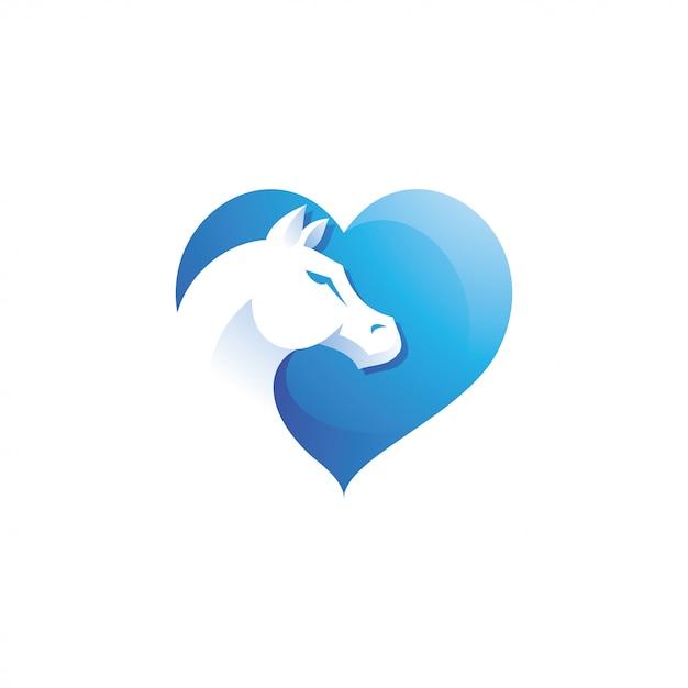 Tête De Cheval Animal Et Logo Coeur D'amour Vecteur Premium