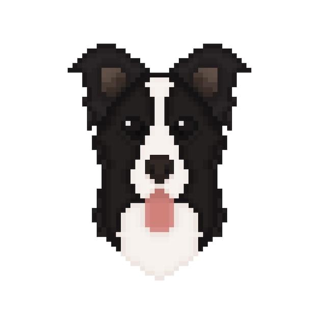 Tête De Chien Border Collie Dans Un Style Pixel Art