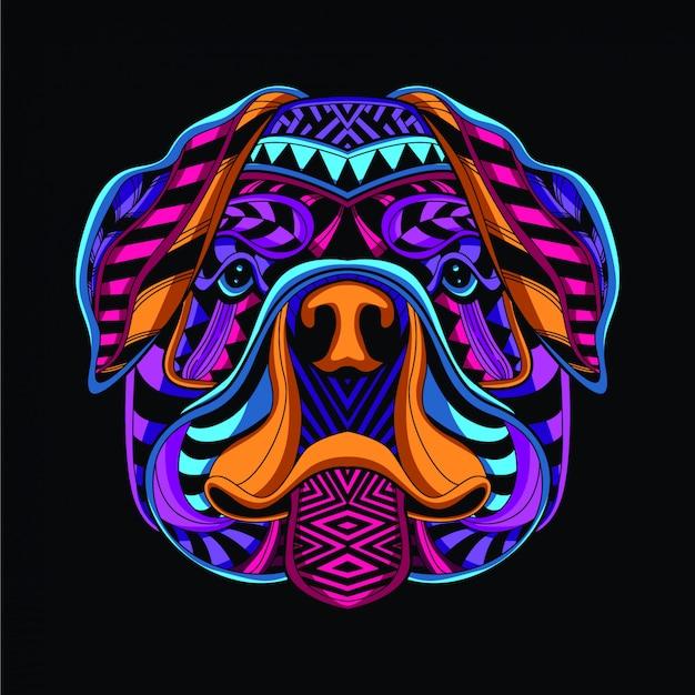 Tête de chien décorative de couleur néon Vecteur Premium