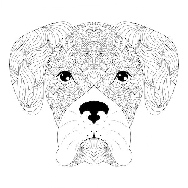 Tête de chien sur fond blanc Vecteur Premium