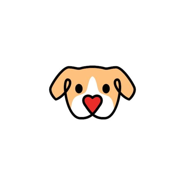 Tête chien avec icône du logo forme amour nez Vecteur Premium