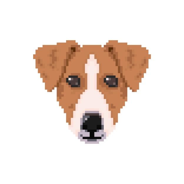 Tête De Chien Jack Russell De Style Pixel Art Télécharger