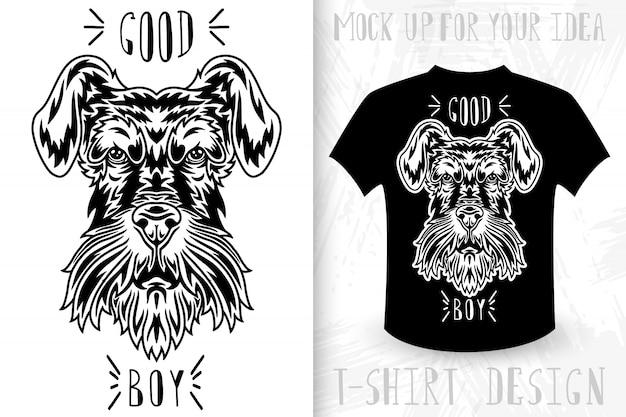 Tête de chien. t-shirt imprimé dans le style vintage monochrome. Vecteur Premium