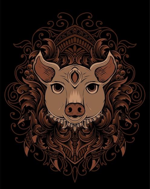 Tête De Cochon Illustration Avec Ornement De Gravure Vecteur Premium