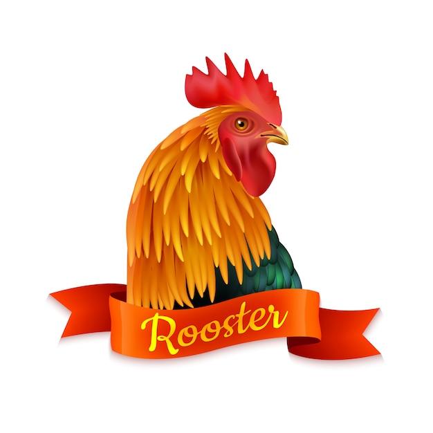 Tête de coq rouge profil image colorée Vecteur gratuit