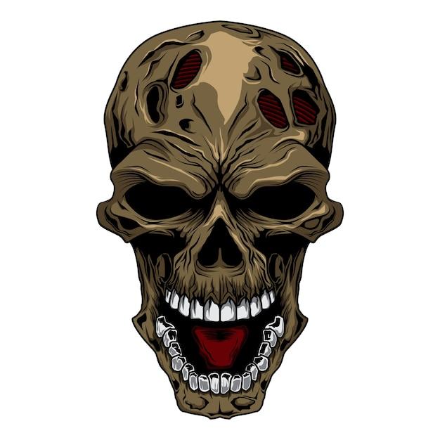 Tête de crâne en colère Vecteur Premium