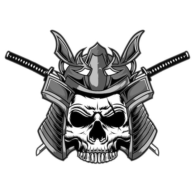 Tête De Crâne Japonais Monochrome Vecteur Premium