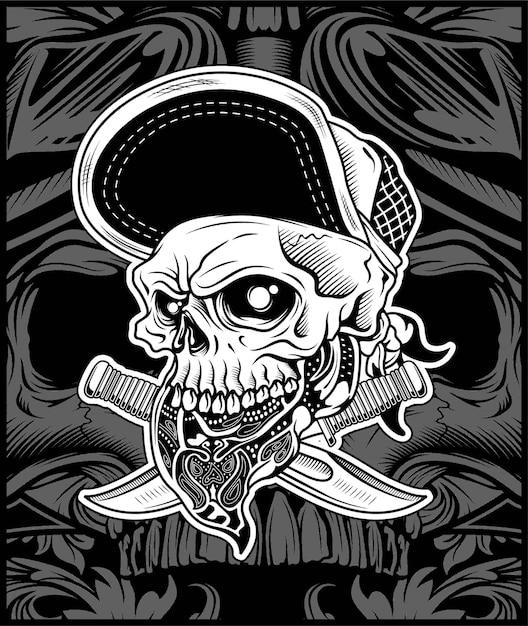 La tête de crâne portant un bandana et un chapeau Vecteur Premium