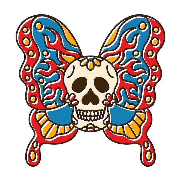 Tête De Crâne Tatouage De Papillon Vecteur Premium
