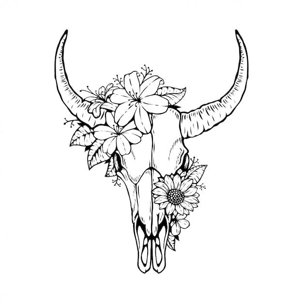 Tête de crâne de taureau animal avec motif floral Vecteur Premium