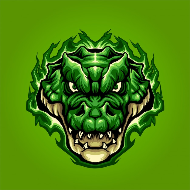 Tête de crocodile vert Vecteur Premium