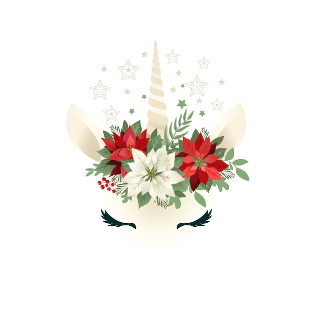 Tête de licorne dessiné main avec couronne florale Vecteur Premium