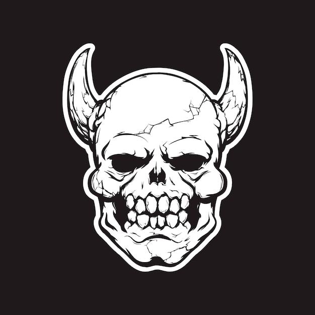Tête de démon imprimée pour t-shirt Vecteur Premium