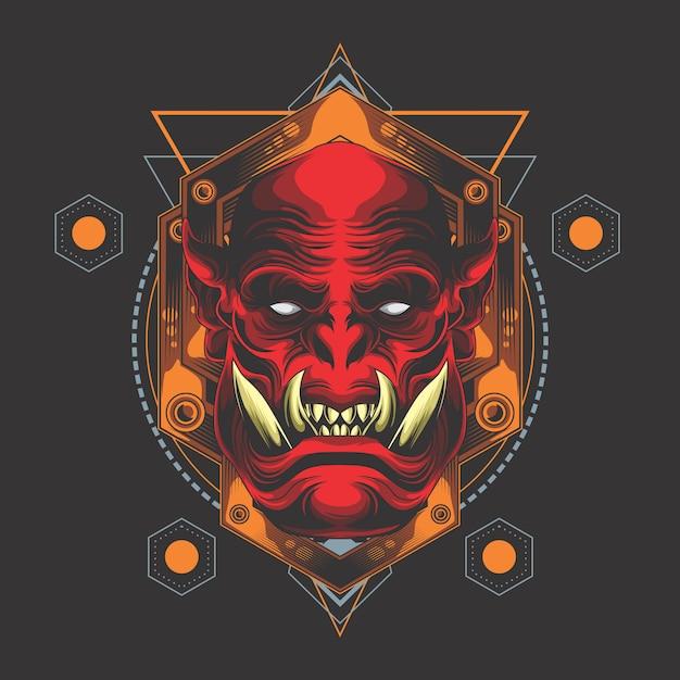 Tête de démon rouge géométrie sacrée Vecteur Premium