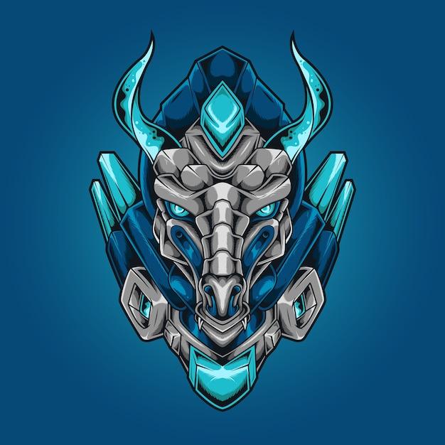 Tête De Dragon Style Robotique Mecha Vecteur Premium