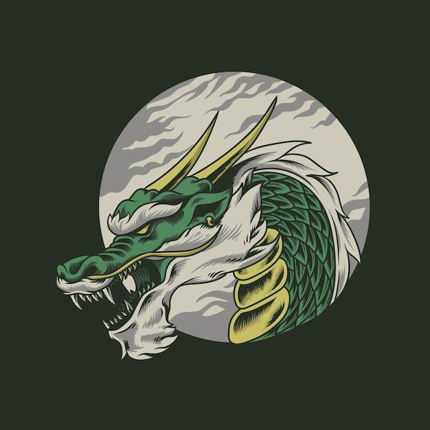 Tête de dragon Vecteur Premium