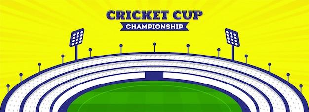 En-tête du championnat de la coupe de cricket Vecteur Premium