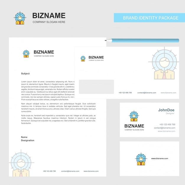 En-tête, enveloppe et carte de visite professionnelle cible Vecteur gratuit