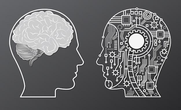 Tête D'esprit Du Cerveau Humain Avec Illustration De Concept De Tête De Robot Intelligence Artificielle Vecteur Premium