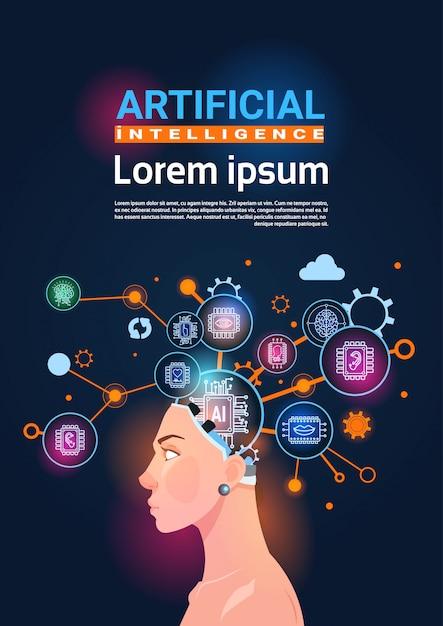 Tête féminine avec roue dentée cyber brain et concept d'engrenages de bannière verticale d'intelligence artificielle Vecteur Premium