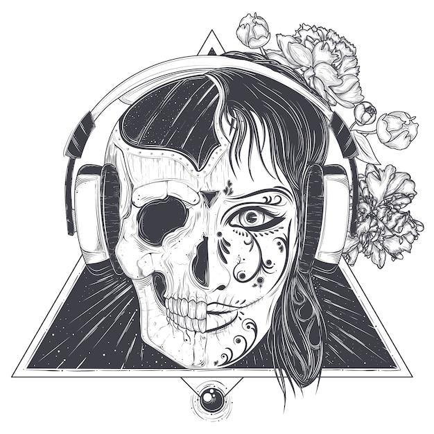 Tête De Femme Avec Le Crâne Demi-visage Gravé Vecteur gratuit