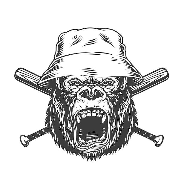 Tête De Gorille En Colère Au Chapeau Panama Vecteur gratuit