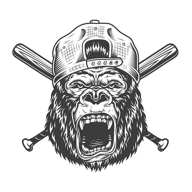 Tête De Gorille En Colère Vintage En Casquette Vecteur gratuit