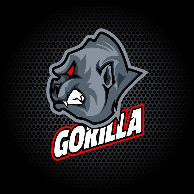Tête de gorille de côté. peut être utilisé pour le logo du club ou de l'équipe. Vecteur Premium