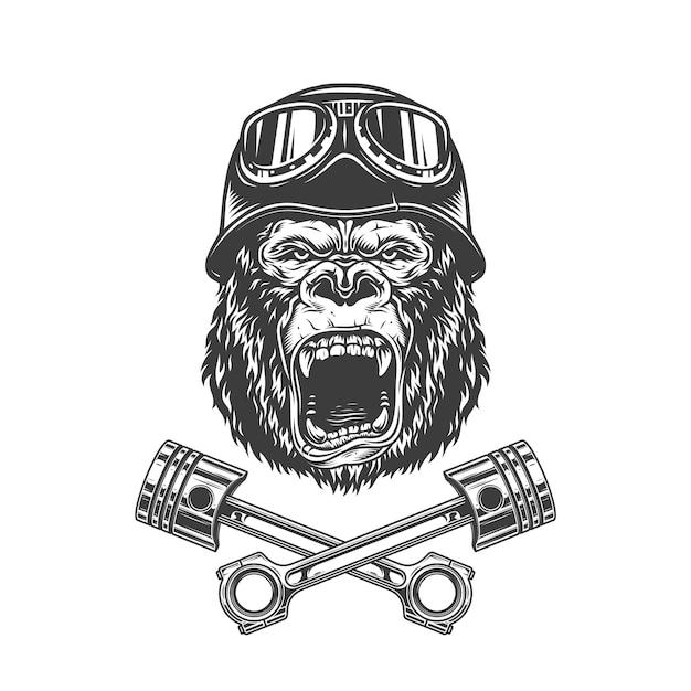 Tête De Gorille Féroce Dans Un Casque De Motard Vecteur gratuit