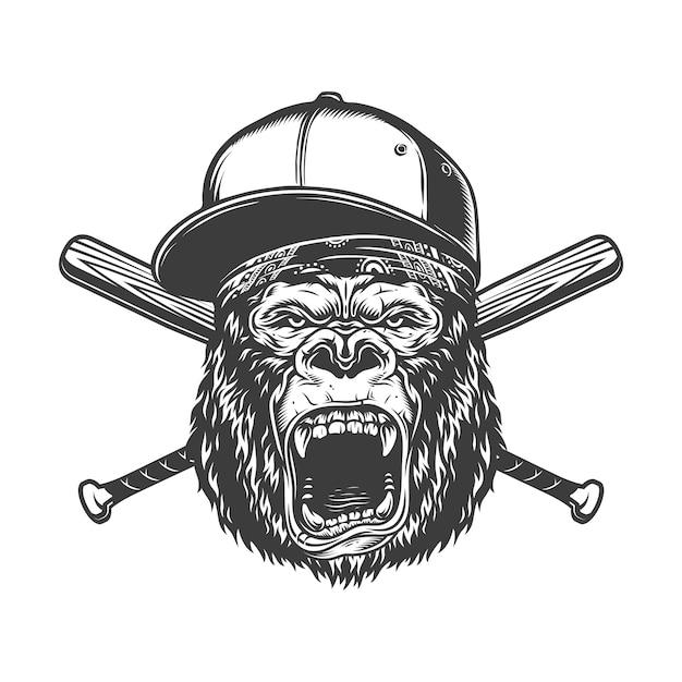 Tête De Gorille Féroce Monochrome Vintage Vecteur gratuit