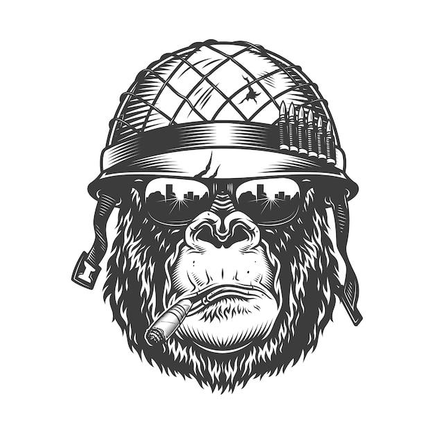 Tête De Gorille En Style Monochrome Vecteur gratuit