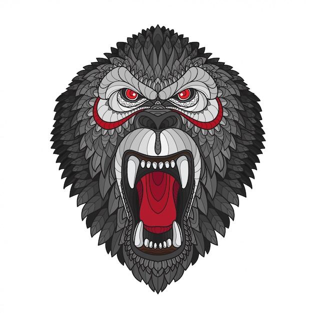 Tête de gorille stylisée zentangle Vecteur Premium