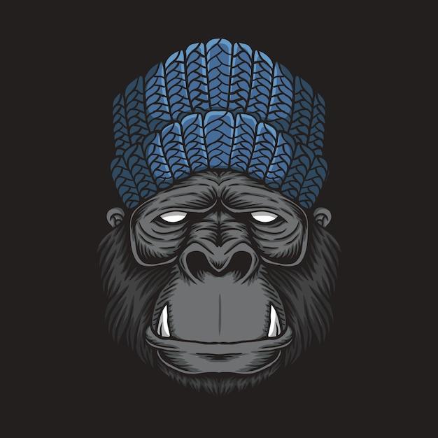 Tête De Gorille Vecteur Premium