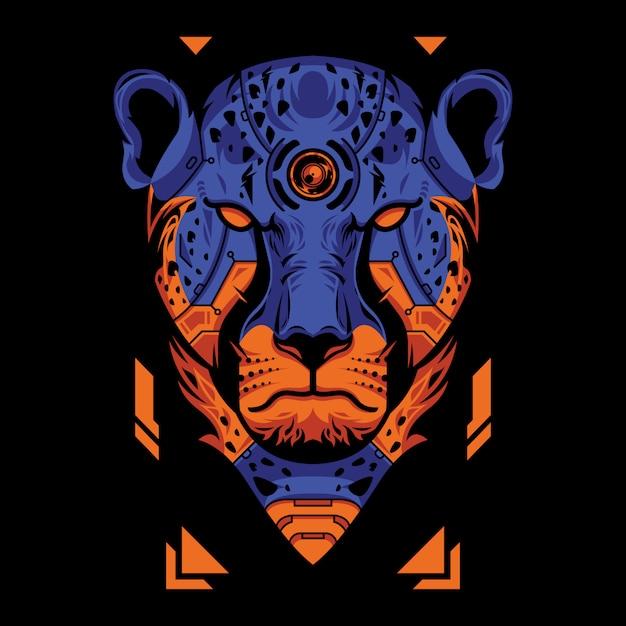 Tête de guépard bleue et orange sur fond noir Vecteur Premium