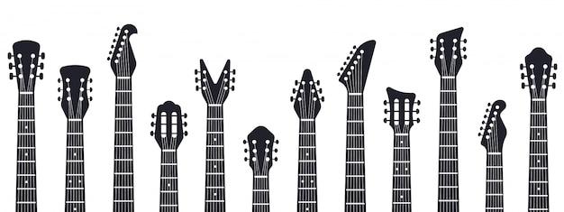Tête De Guitare. Silhouette De Cous De Guitare De Musique Rock. Illustration De Guitares De Musique électrique Et Acoustique. Divertissement Acoustique, Guitare Instrument, équipement Musical Vecteur Premium