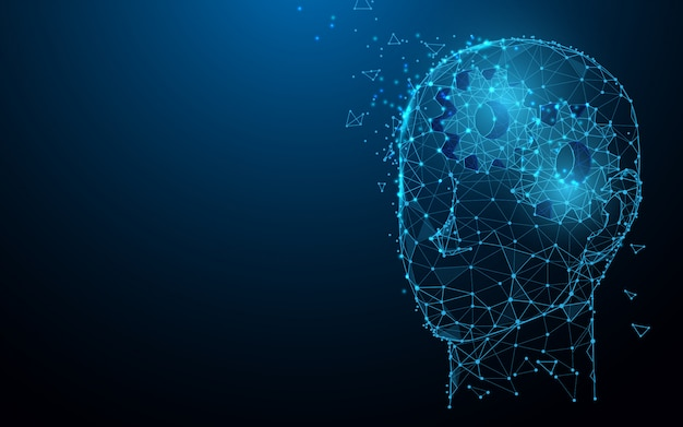 Tête humaine avec des engrenages de lignes, des triangles et des styles de particules. illustration vecteur Vecteur Premium