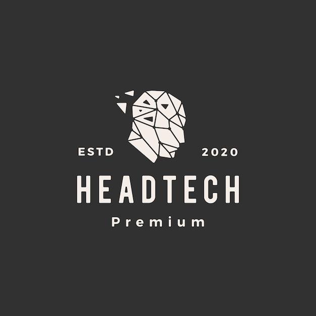Tête Humaine Tech Hipster Géométrique Logo Vintage Icône Illustration Vecteur Premium