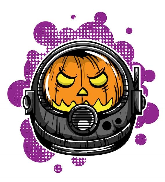 Tête d'illustration vectorielle de citrouille astronaute Vecteur Premium