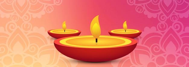 En-tête De La Lampe à Huile Fête Du Diwali Ou Bannière Vecteur gratuit