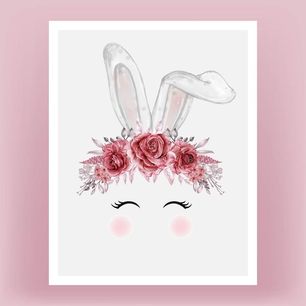 Tête De Lapin Aquarelle Fleur Rouge Marron Illustration Dessinée à La Main Vecteur gratuit