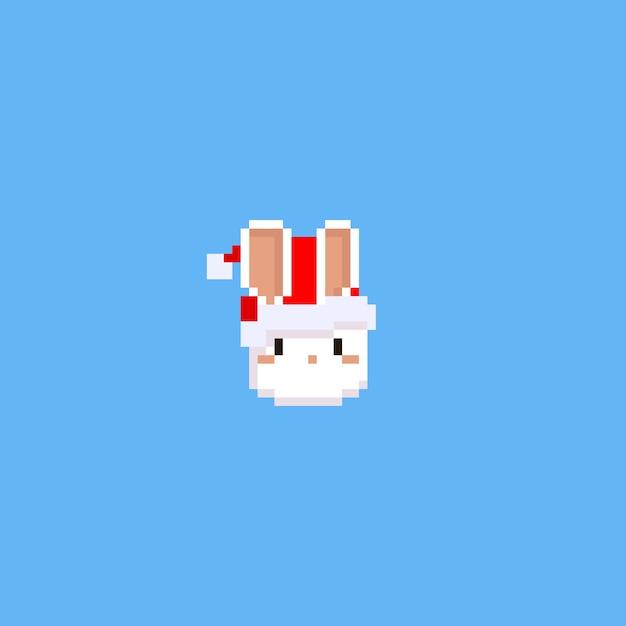 Tête De Lapin Pixel Avec Chapeau De Noël Télécharger Des
