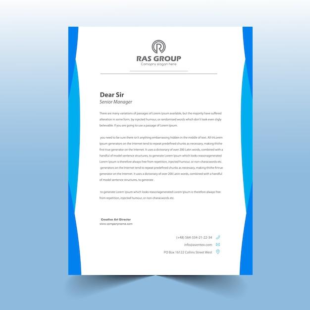 Tête De Lettre Bleue Simple Vecteur Premium