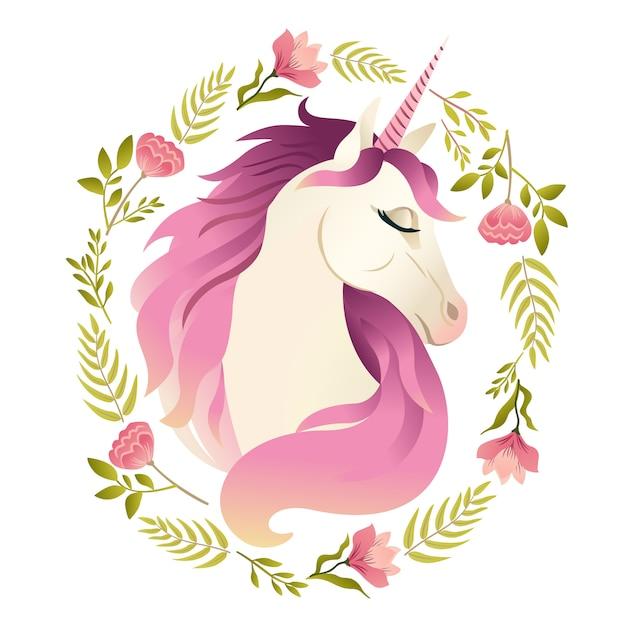 Tête de licorne en guirlande de fleurs Vecteur Premium