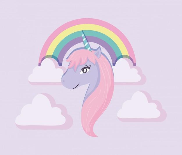 Tête licorne mignonne de conte de fées avec arc-en-ciel et nuages Vecteur Premium
