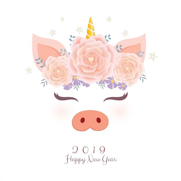 Tête de licorne de porc mignon avec une couronne de fleurs. Vecteur Premium